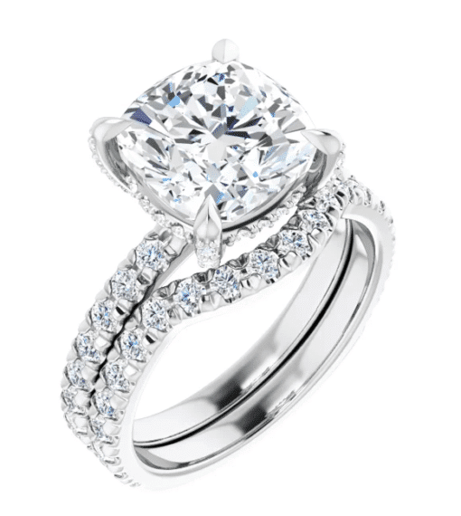 Cushion Moissanite Hidden Halo Engagement Ring - 2.70tcw - 6.00tcw