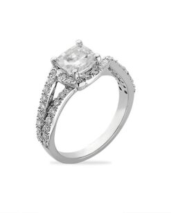 Cushion Moissanite Micro Pave Halo Engagement Ring - 1.40tcw