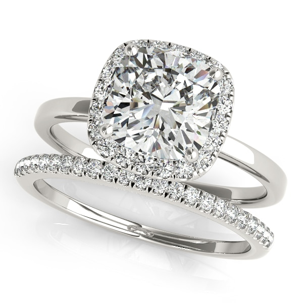 Cushion Moissanite Micro Pave Halo Engagement Ring - 1.55tcw - 2.45tcw