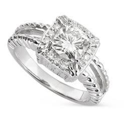 Cushion Moissanite Side Stones Engagement Ring - 1.25tcw