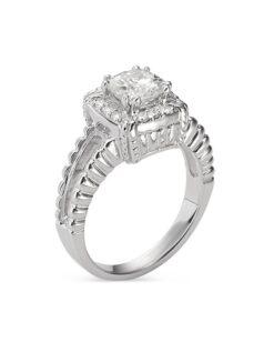Cushion Moissanite Side Stones Engagement Ring - 1.25tcw