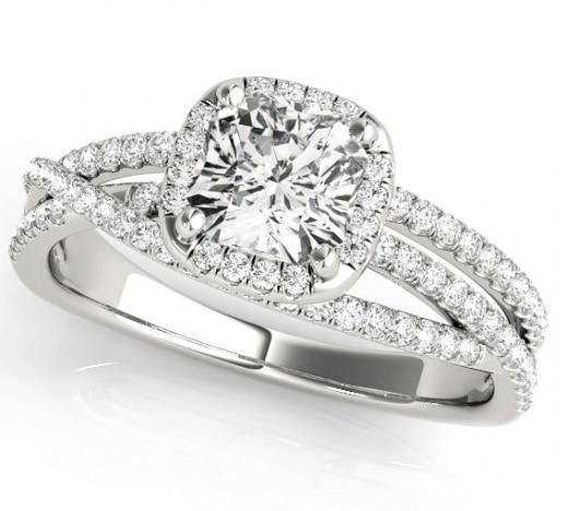 Cushion Moissanite Tri Band Engagement Ring - 1.70tcw - 2.90tcw