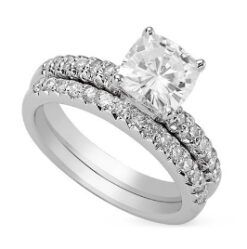 Cushion Moissanite Wedding Set Ring - 1.55tcw - 5.47tcw