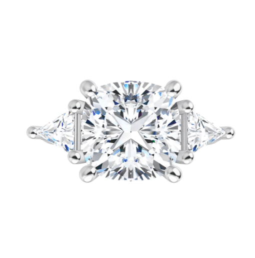 Cushion & Trillion Moissanite 3 Stone Ring - 2.30tcw - 3.90tcw