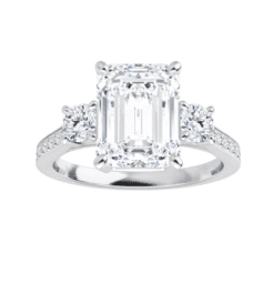 Emerald Moissanite  3 Stone Ring - 2.25tcw - 4.05tcw