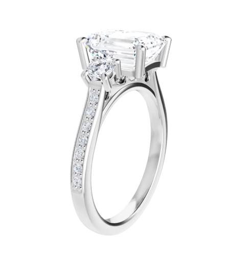 Emerald Moissanite  3 Stone Ring - 2.25tcw - 4.05tcw