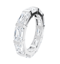 Emerald Moissanite Eternity Wedding Band Ring - 5.80tcw