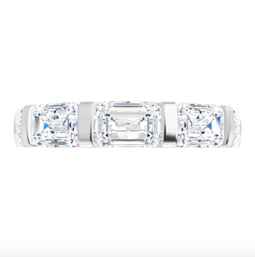Emerald Moissanite Eternity Wedding Band Ring - 5.80tcw
