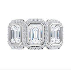 Emerald Moissanite Halo 3 Stone Ring - 1.55tcw - 4.90tcw