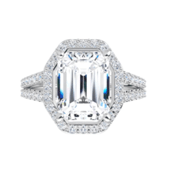 Emerald Moissanite Halo Engagement Ring - 3.35tcw - 5.75tcw