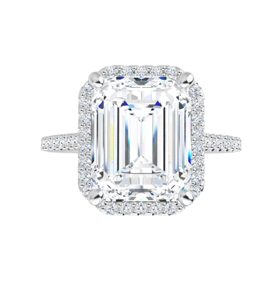 Emerald Moissanite Halo Engagement Ring - 2.25tcw - 3.80tcw