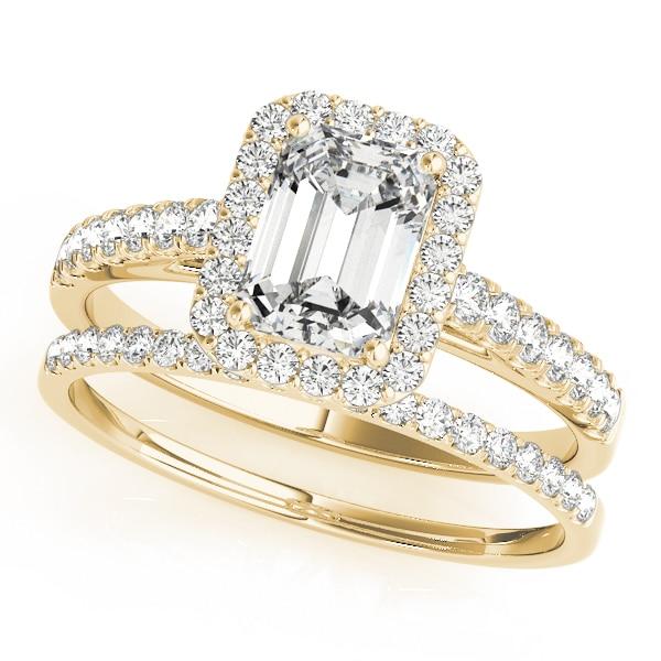 Emerald Moissanite Halo Pave Wedding Set Ring - 1.52tcw - 4.15tcw