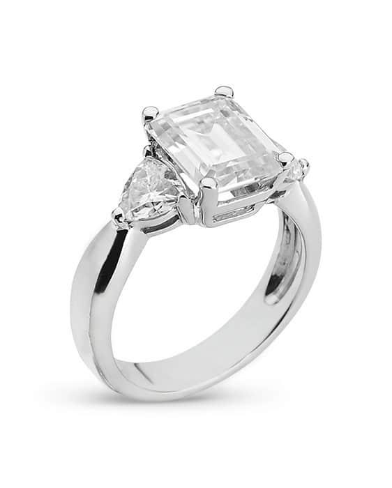 Emerald Moissanite Three Stone Ring - 2.55tcw - 4.35tcw