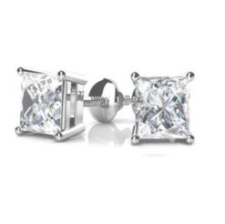 Square Moissanite Forever One Stud Earrings