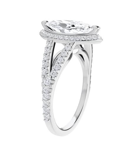 Marquise Moissanite Split Band Halo Engagement Ring - 1.85tcw - 2.65tcw