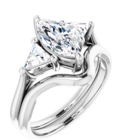 Marquise & Trillion Moissanite 3 Stone Ring - 1.60tcw