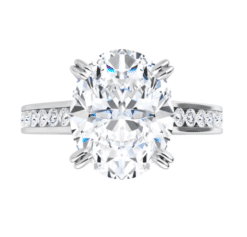 Oval Moissanite Channel Band Bezel Engagement Ring - 2.15tcw - 4.80tcw