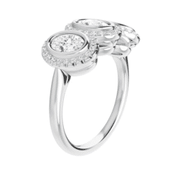 Oval Moissanite Halo 3 Stone Ring - 1.40tcw - 5.15tcw