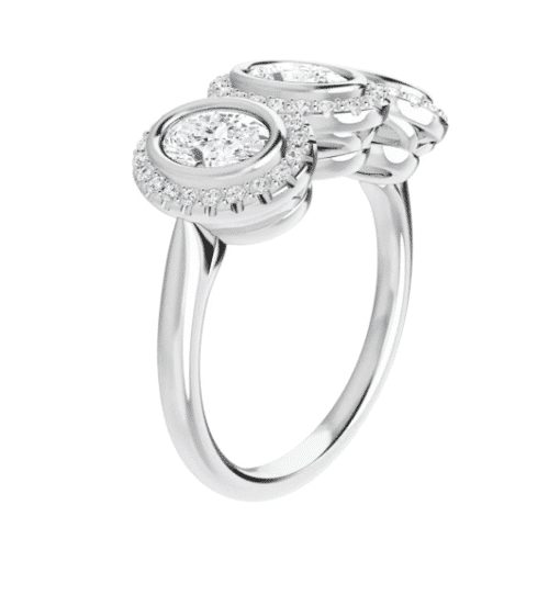 Oval Moissanite Halo 3 Stone Ring - 1.40tcw - 5.15tcw