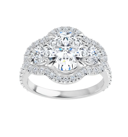 Oval Moissanite Micro Pave Halo Engagement Ring - 2.50tcw - 3.10tcw