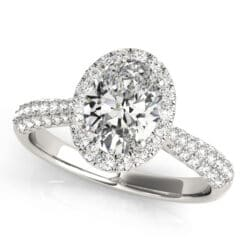 Oval Moissanite Pave Halo Engagement Ring - 1.25tcw - 2.45tcw