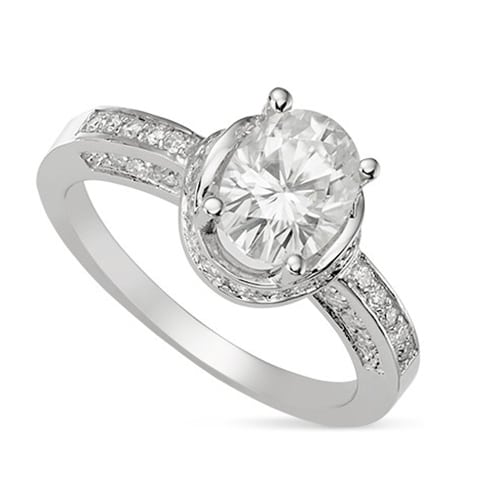 Oval Moissanite Side Stones Engagement Ring - 2.10tcw - 2.70tcw