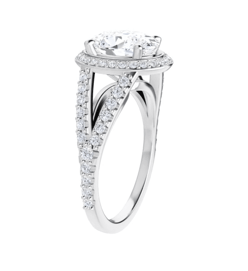 Oval Moissanite Split Band Halo Engagement Ring - 2.35tcw - 5.05tcw