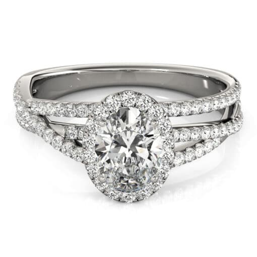 Oval Moissanite Tri Band Halo Engagement Ring - 2.00tcw - 3.30tcw
