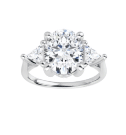 Oval & Trillion Moissanite 3 Stone Ring - 2.70tcw - 4.80tcw