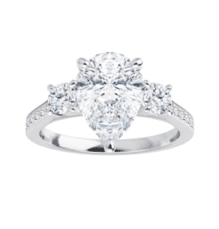 Pear Moissanite  3 Stone Ring - 2.00tcw - 4.00tcw