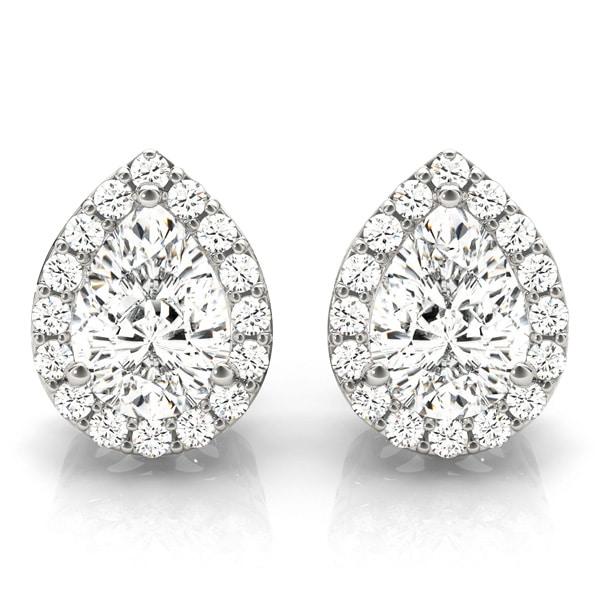 Pear Moissanite Halo Earrings - 2.83tcw - 3.40tcw