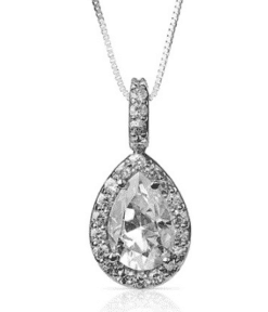 Pear Moissanite Halo Micro Pave Pendant - 1.83tcw