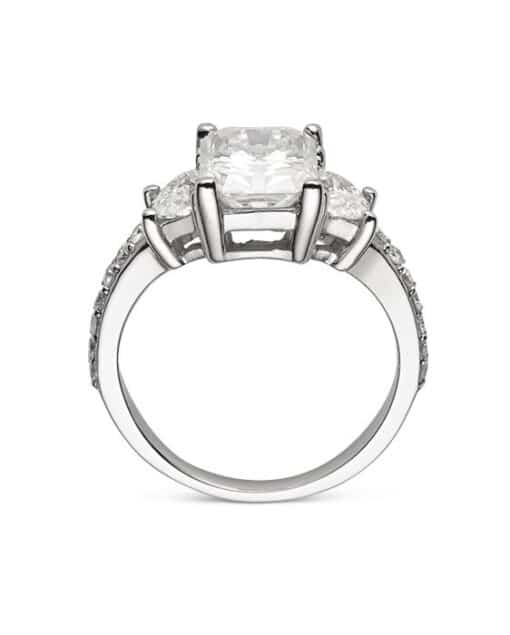 Radiant & Half Moon Moissanite 3 Stone Pave Ring - 2.75tcw