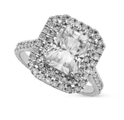 Radiant Moissanite Double Halo Engagement Ring - 3.84tcw
