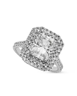 Radiant Moissanite Double Halo Engagement Ring - 3.84tcw
