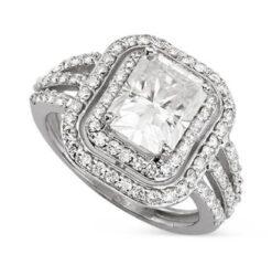 Radiant Moissanite Double Halo Engagement Ring - 5.00tcw