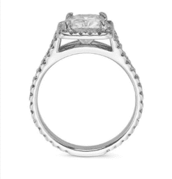 Radiant Moissanite Halo Engagement Ring - 3.10tcw