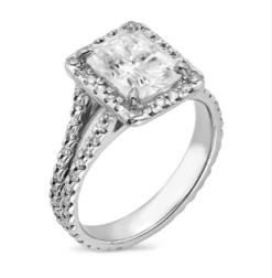 Radiant Moissanite Halo Engagement Ring - 3.10tcw