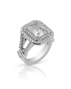 Radiant Moissanite Halo Pave Engagement Ring - 4.96tcw