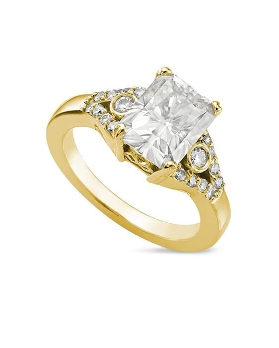 Radiant Moissanite Side Stones Ring - 2.10tcw - 4.20tcw