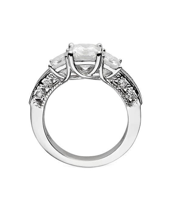 Radiant Moissanite Three Stone Ring - 3.76tcw