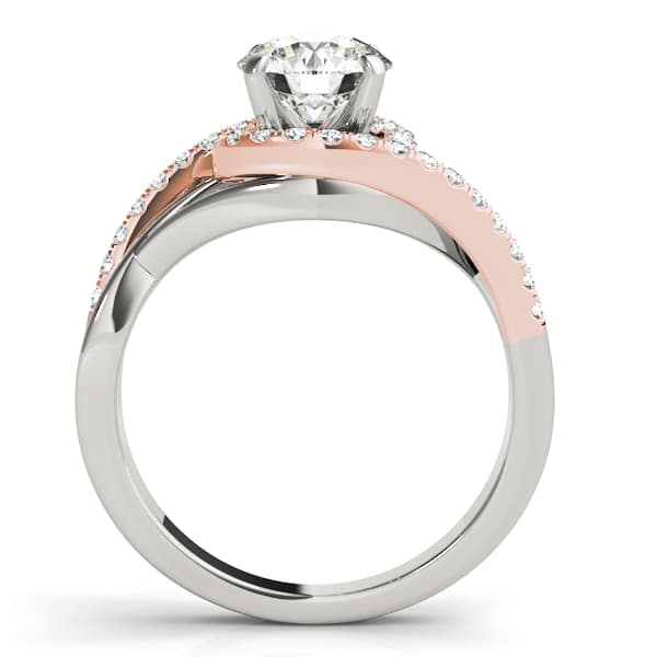 Round Moissanite 2 Tone Side Stones Engagement Ring - 2.65tcw