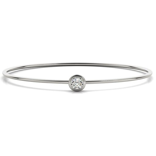 Round Moissanite Bezel Bangle Bracelet - 0.35tcw
