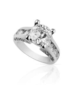 Round Moissanite Chanel and Pave Engagement Ring - 4.10tcw - 5.10tcw
