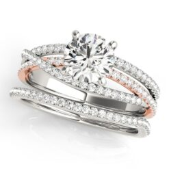 Round Moissanite Criss Cross Engagement Ring - 1.25tcw - 3.85tcw