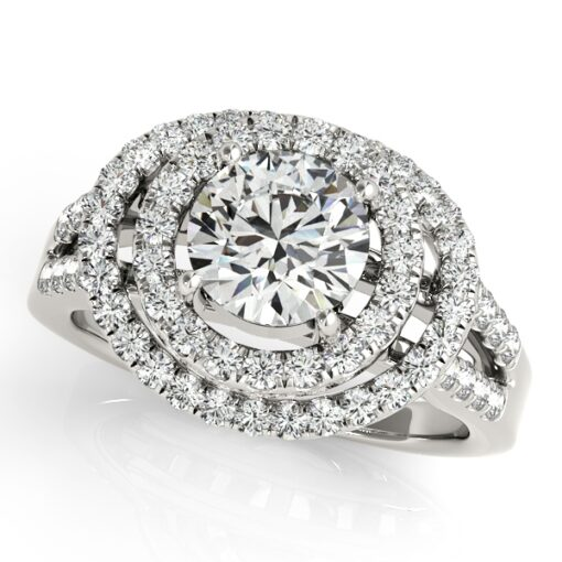 Round Moissanite Double Halo Engagement Ring - 2.00tcw