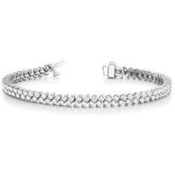 Round Moissanite Double Row Tennis Bracelet - 3.96tcw - 6.36tcw