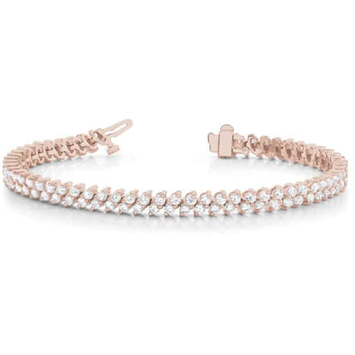 Round Moissanite Double Row Tennis Bracelet - 3.96tcw - 6.36tcw