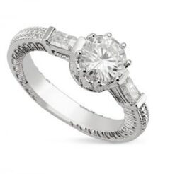 Round Moissanite Estate Style Engagement Ring - 1.25tcw