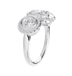 Round Moissanite Halo 3 Stone Ring - 2.15tcw - 2.45tcw
